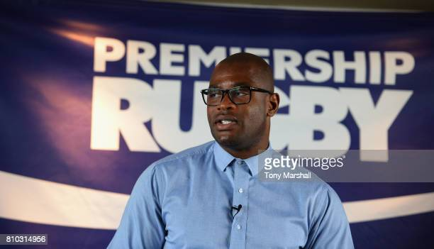 Ugo Monye of BT Sport speaks during the Premiership Rugby Fixture Launch 2017-2018 at BT Tower on July 7, 2017 in London, England.