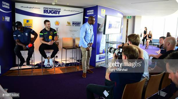 Ugo Monye of BT Sport with Topsy Ojo of London Irish and Stephen Myler pf Northampton Saints during the Premiership Rugby Fixture Launch 20172018 at...