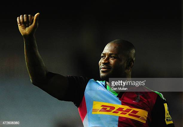 Ugo Monye of Harlequins salutes the crowd after the Aviva Premiership match between Harlequins and Bath Rugby at Twickenham Stoop on May 8, 2015 in...