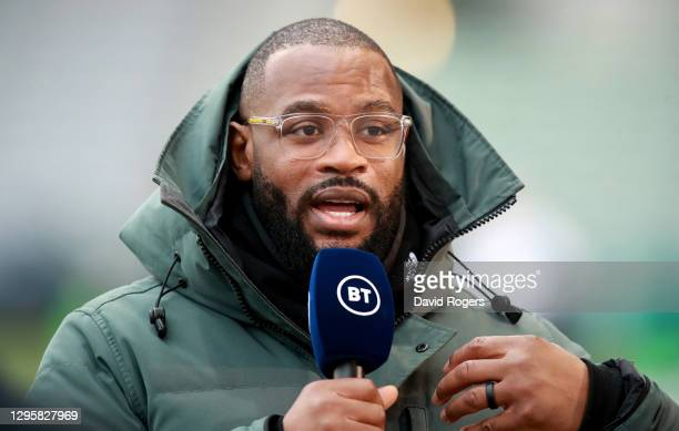 Ugo Monye, the former England international, now BT Sport personality looks on during the Gallagher Premiership Rugby match between Harlequins and...
