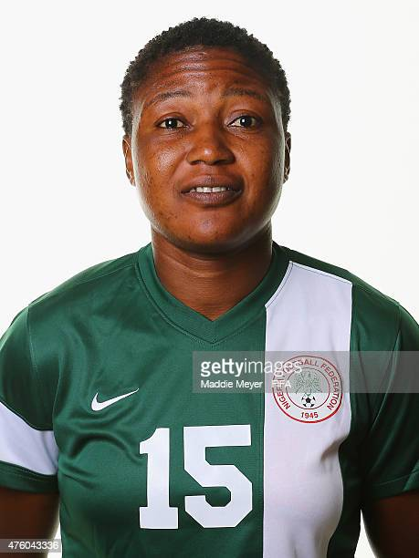 Ugo Njoku of Nigeria during a portrait session ahead of the FIFA Women's World Cup 2015 at the Hilton Suites Winnipeg on June 5 2015 in Winnipeg...