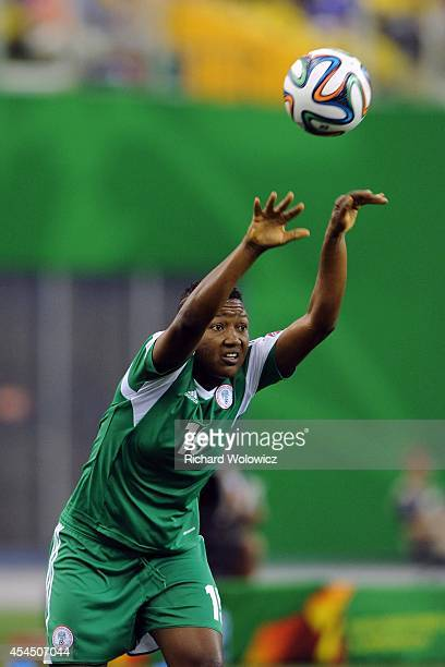 Ugo Njoku of Nigeria throws in the ball during the FIFA Women's U20 Final against Germany at Olympic Stadium on August 24 2014 in Montreal Quebec...