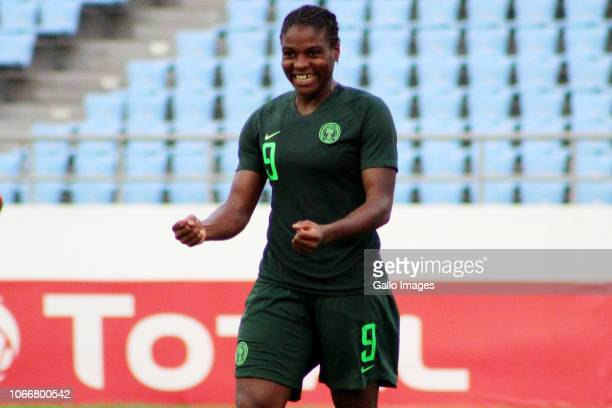 Ugochi Desire Oparanozie of Nigeria reacts during the 2018 TOTAL African Womens Cup of Nations match between Equatorial Guinea and Nigeria on...