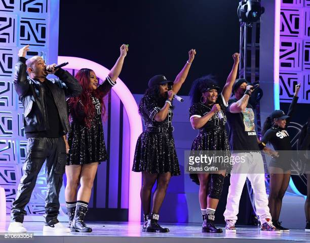 UGod Leanne 'Lelee' Lyons Cheryl 'Coko' Gamble and Tamara 'Taj' Johnson of SWV and Method Man perform onstage at the 2017 Soul Train Awards presented...