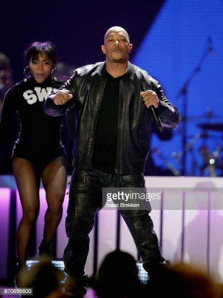 God performs onstage with SWV at the 2017 Soul Train Awards presented by BET at the Orleans Arena on November 5 2017 in Las Vegas Nevada