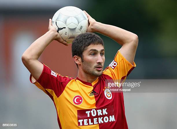 Ugur Ucar of Galatasaray does a throwin during the Zayon Cup match between Galatasaray Istanbul and Wydad AC Casablanca at the Lorheide stadium on...