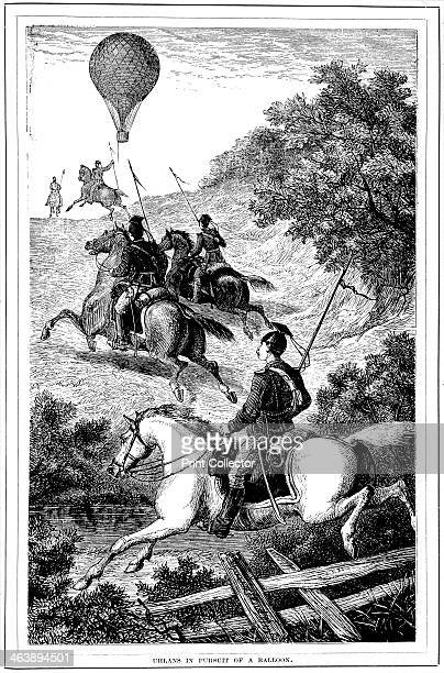 'Uhlans in Pursuit of a Balloon', Franco-Prussian War, 1870-1871 . A group of Prussian cavalry giving chase to a balloon which had escaped from the...
