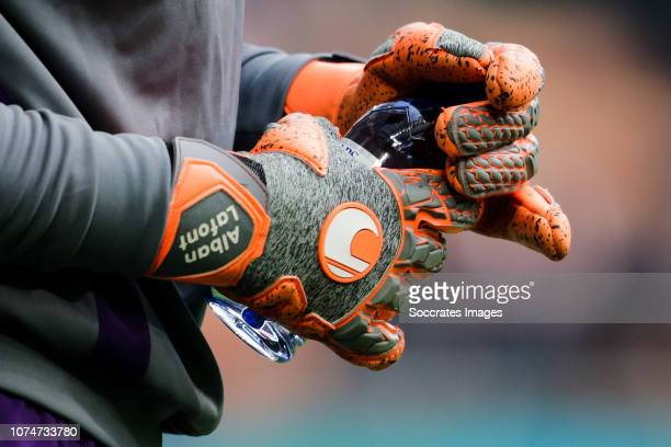 Uhlsport goalkeeper gloves from Alban Lafont of Fiorentina during the Italian Serie A match between AC Milan v Fiorentina at the San Siro on December...