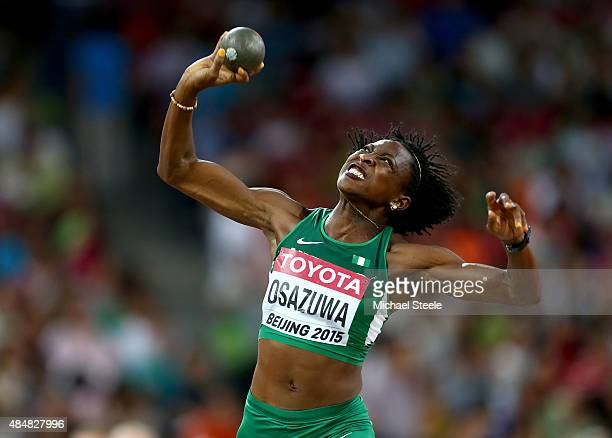 Uhunoma Osazuwa of Nigeria competes in the Women's Heptathlon Shot Put during day one of the 15th IAAF World Athletics Championships Beijing 2015 at...