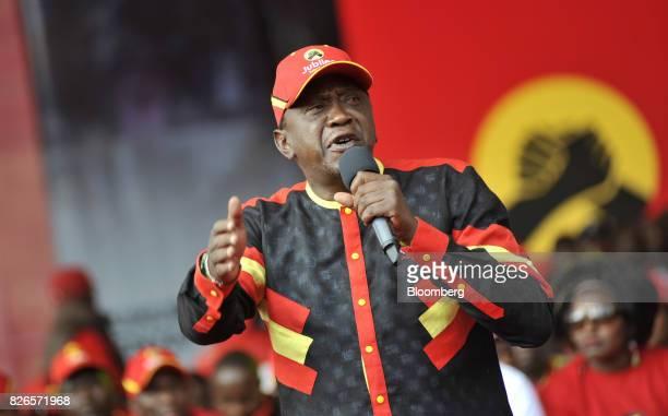 Uhuru Kenyatta Kenya's president speaks during a presidential election rally for the Jubilee Party in Nairobi Kenya on Friday Aug 4 2017 The winner...