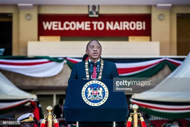 Uhuru Kenyatta Kenya's president speaks during the independence celebrations on Jamhuri Day at Kasarani stadium in Nairobi Kenya on Tuesday Dec 12...