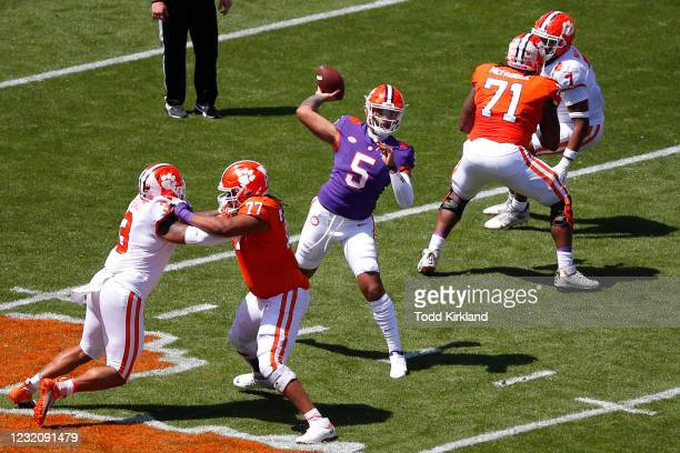 Uiagalelei of the Clemson Tigers passes during the Clemson Orange and White Spring Game at Memorial Stadium on April 3, 2021 in Clemson, South...