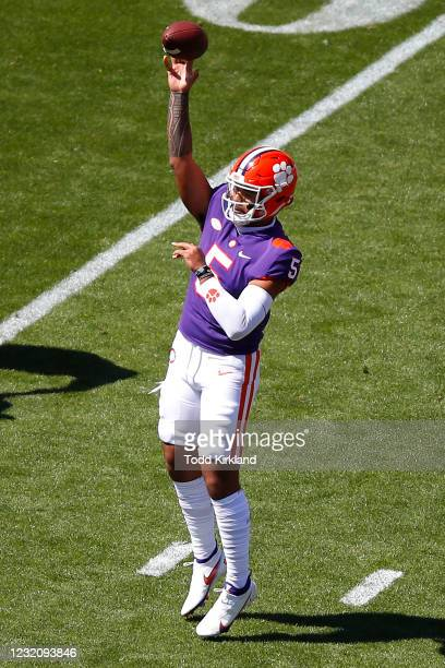 Uiagalelei of the Clemson Tigers passes during the second half of the Clemson Orange and White Spring Game at Memorial Stadium on April 3, 2021 in...