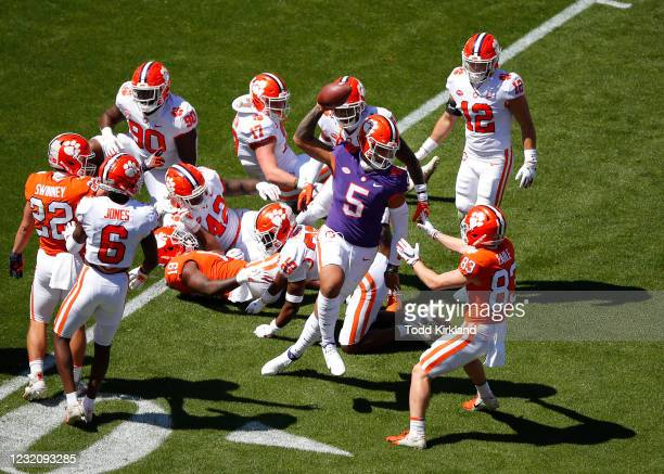 Uiagalelei of the Clemson Tigers reacts during the second half of the Clemson Orange and White Spring Game at Memorial Stadium on April 3, 2021 in...