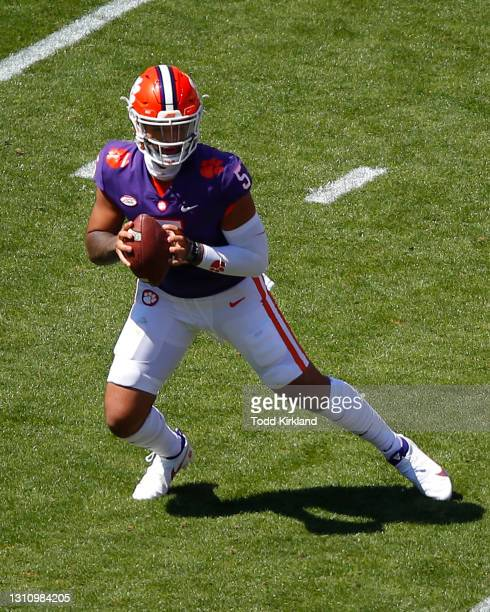 Uiagalelei of the Clemson Tigers rolls out to pass during the second half of the Clemson Orange and White Spring Game at Memorial Stadium on April 3,...