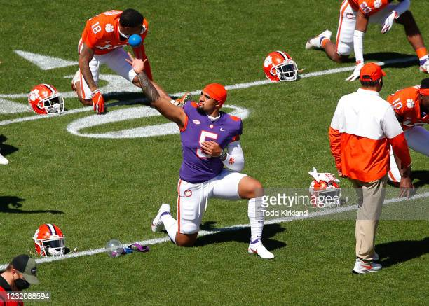 Uiagalelei of the Clemson Tigers warms up prior to the Clemson Orange and White Spring Game at Memorial Stadium on April 3, 2021 in Clemson, South...