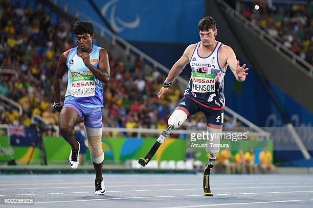 Uic Abarana Gedara of Sri Lanka and David Henson of Great Britain compete in the men's 200m T42 on day 3 of the Rio 2016 Paralympic Games at Olympic...