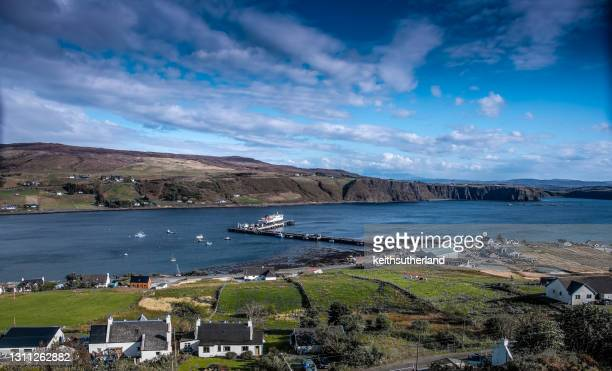 uig harbour, isle of skye, inner hebrides, scotland, uk - ferry stock pictures, royalty-free photos & images