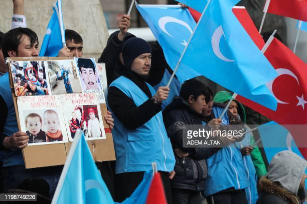 Uighurs living in Turkey stage a demonstration to commemorate the anniversary of the deadly ethnic unrests of 1997 in Gulja China's farwestern...
