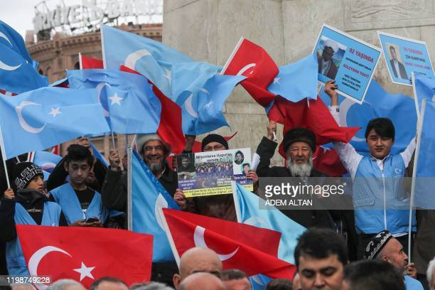 Uighurs living in Turkey stage a demonstration to commemorate the anniversary of the deadly ethnic unrests of 1997 in Gulja, China's far-western...