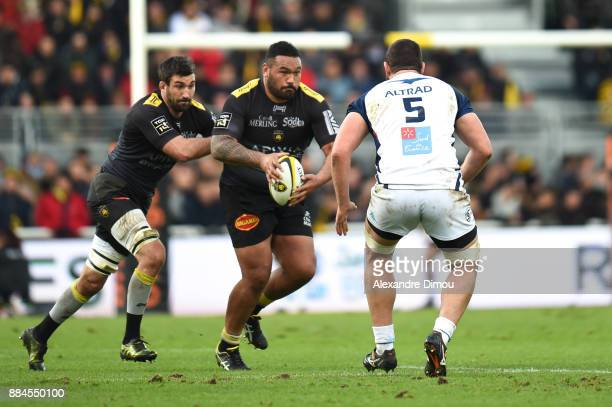 Uini Atonio and Romain Sazy of La Rochelle during the Top 14 match between La Rochelle and Montpellier on December 2 2017 in La Rochelle France