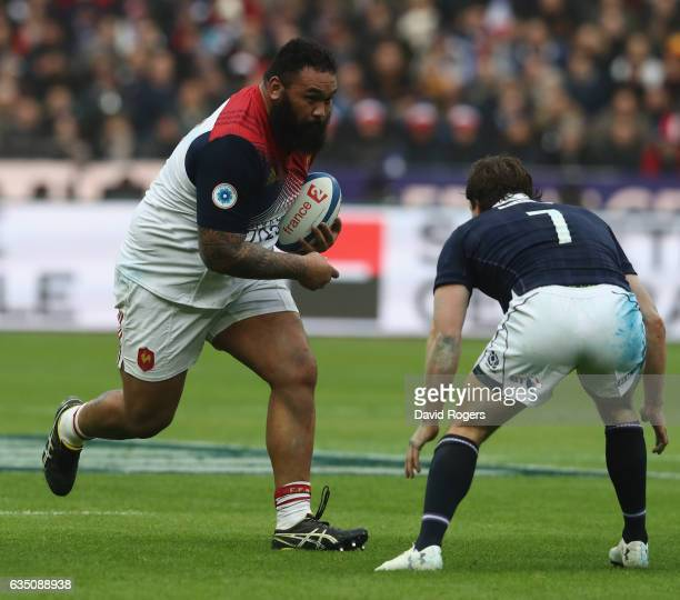 Uini Atonio of France takes on Hamish Watson during the RBS Six Nations match between France and Scotland at Stade de France on February 12 2017 in...