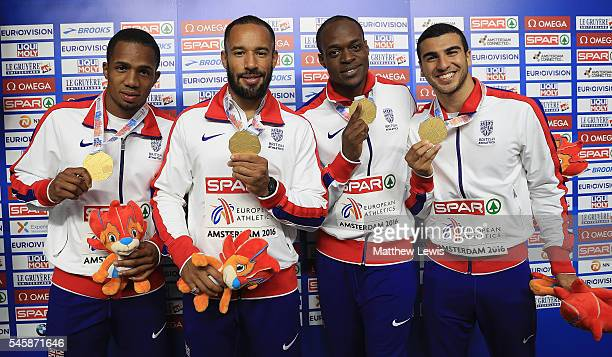 Ujah James Ellington James Dasaolu and Adam Gemili of Great Britain pictured with their gold medals after winning the Mens 4x100m relay Final during...