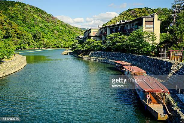 uji river and fishing boats in uji kyoto japan - uji kyoto stock pictures, royalty-free photos & images