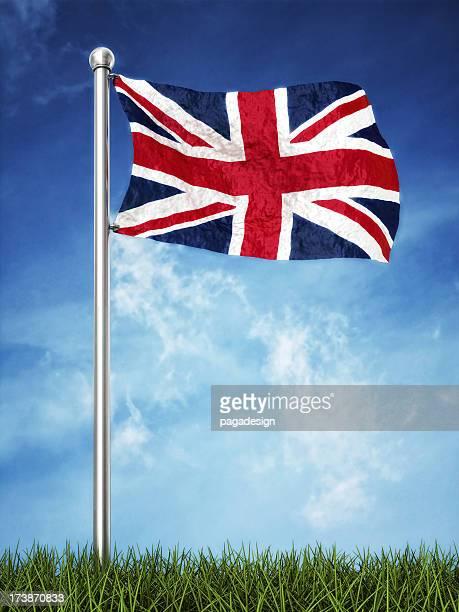 uk flag waving on the horizont