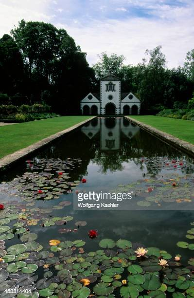 Uk Wales Bodnant Garden Pond With Water Lilies