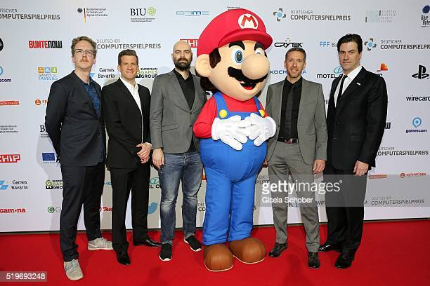 Uke Bosse Fabian Siegesmund Tino Hahn Peter Elstner and Maximilian Schenk during the German Computer Games Award 2016 at BMW World on April 7 2016 in...