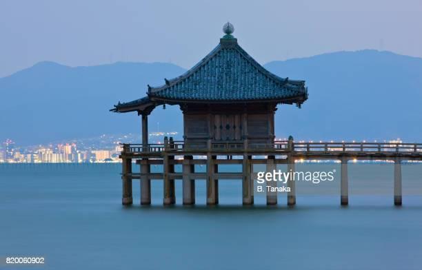 Ukimido Floating Temple at Twilight on Lake Biwa in Japan's Shiga Prefecture