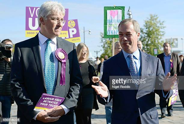 Ukip candidate for the Heywood and Middleton byelection John Bickley campaining with party leader Nigel Farage on October 2 2014 in Middleton England...