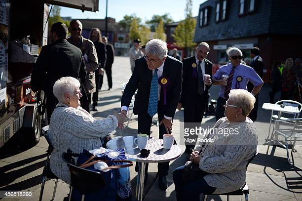Ukip candidate for the Heywood and Middleton byelection John Bickley speaks to voters during campaigning on October 2 2014 in Middleton England The...