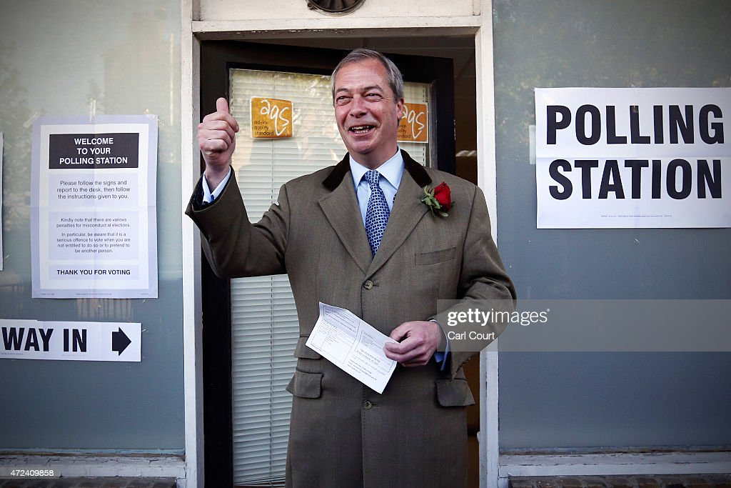 Ukip leader Nigel Farage arrives to cast his vote for the South Thanet constituency on May 7, 2015 in Ramsgate, England. The United Kingdom has gone to the polls to vote for a new government in one of the most closely fought General Elections in recent history. With the result too close to call it is anticipated that there will be no overall clear majority winner and a coalition government will have to be formed once again.