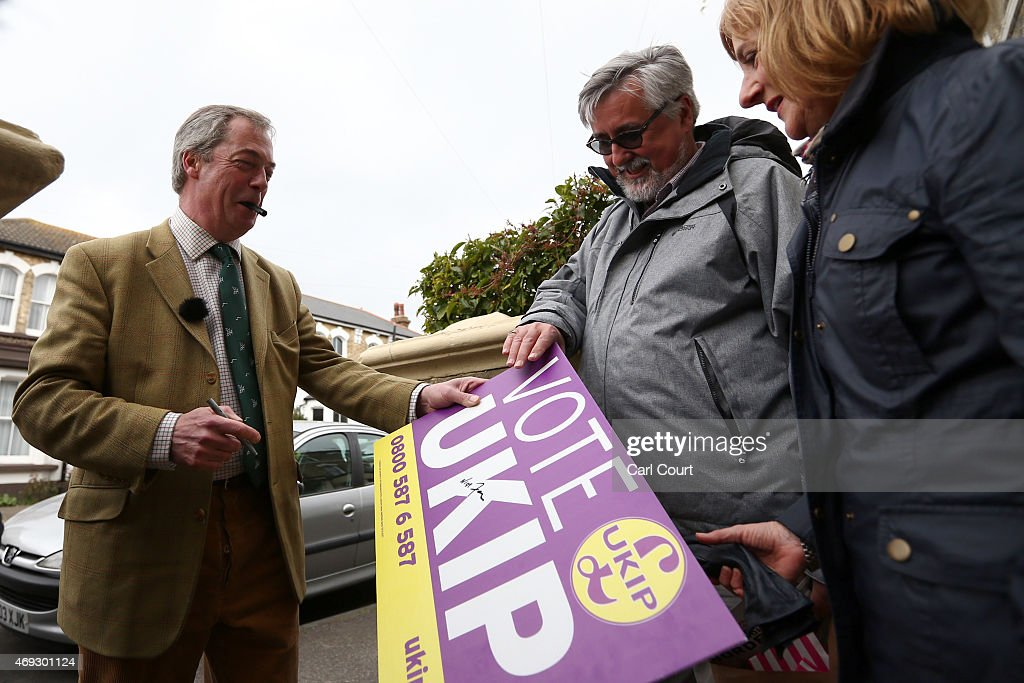 UKIP Leader Nigel Farage Campaigns in South Thanet : News Photo