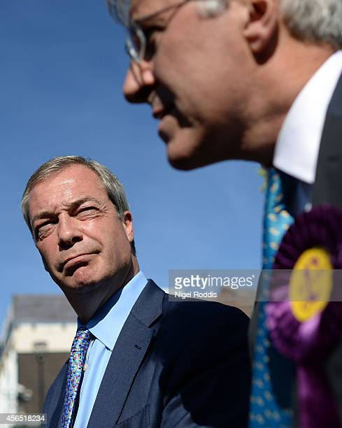 Ukip party leader Nigel Farage campaigning for candidate for the Heywood and Middleton byelection John Bickley on October 2 2014 in Middleton England...