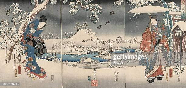 Ukiyoe triptych print showing a snowy landscape with a woman brandishing a broom and a man holding an umbrella A modern version of the Tale of Genji...
