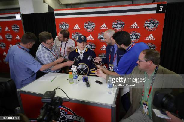 UkkoPekka Luukkonen is interviewed after being selected 54th overall by the Buffalo Sabres during the 2017 NHL Draft at the United Center on June 24...