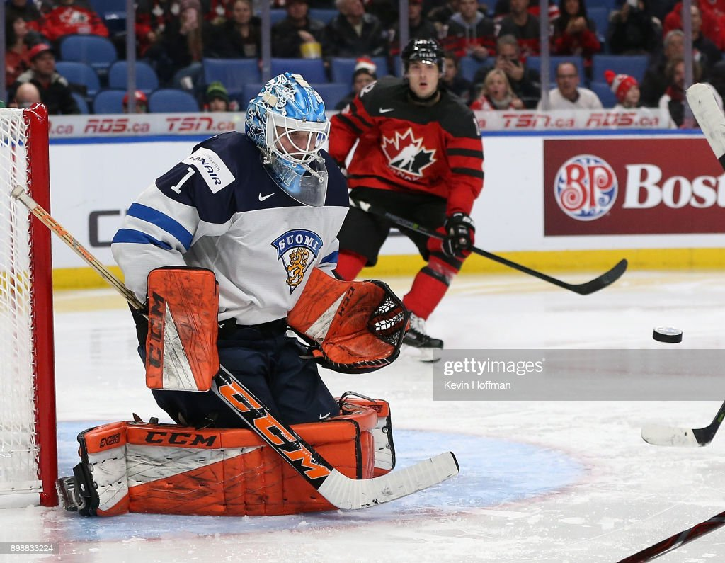 Ukko-Pekka Luukkonen #1 of Finland makes the save against Team Canada during the third period at KeyBank Center on December 26, 2017 in Buffalo, New York. Canada beat Finland 4-2.