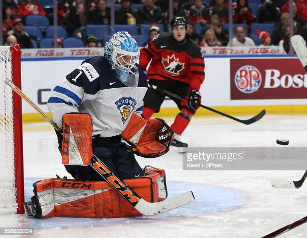 UkkoPekka Luukkonen of Finland makes the save against Team Canada during the third period at KeyBank Center on December 26 2017 in Buffalo New York...