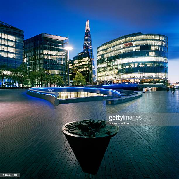 London,View of Shard and offices from city hall at dusk