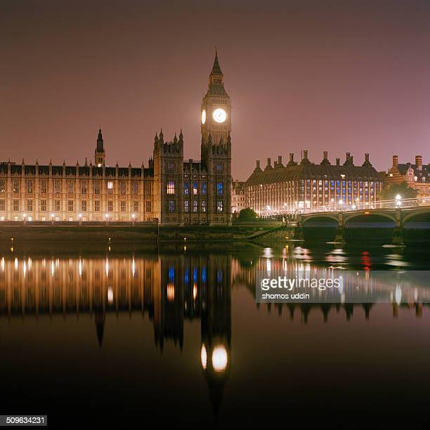 UKLondonWestminsterBig Ben and Houses of Parliament reflected in the Thames at night