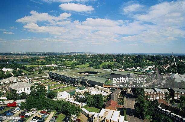 UK,London,Wimbledon Tennis Club, view across courts in summer