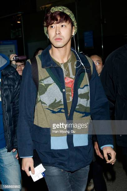 Know of South Korean boy band TVXQ is seen at Incheon International Airport on November 22 2012 in Incheon South Korea