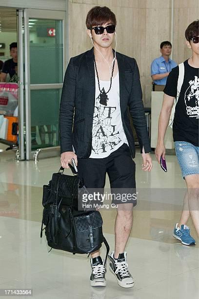 Know of South Korean boy band TVXQ is seen upon arrival at Gimpo International Airport on June 24 2013 in Seoul South Korea