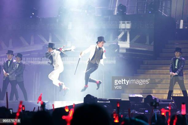 Know Yunho and Max Changmin of South Korean boy group TVXQ perform onstage during their 'Circle' concert on July 7 2018 in Hong Kong China