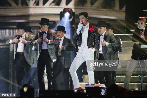 Know Yunho of South Korean boy group TVXQ performs onstage during 'Circle' concert on July 7 2018 in Hong Kong China