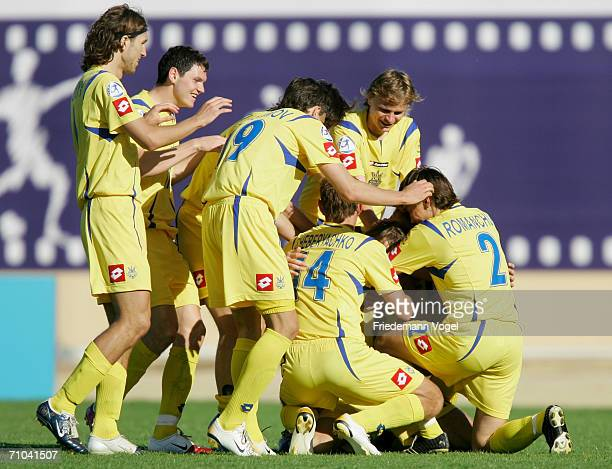 Ukraine celebrate after scoring the second goal during the UEFA U21?s Championship Group B match between Ukraine and Netherlands at the Muncipal...