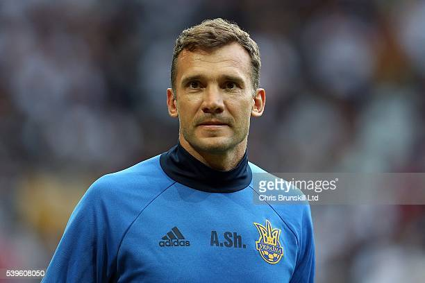 Ukraine coach Andrei Shevchenko looks on ahead of the UEFA Euro 2016 Group C match between Germany and Ukraine at Stade PierreMauroy on June 12 2016...